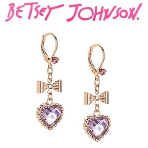 Betsey Johnson Heart Bow Drop Earrings